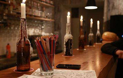 светильники из бутылки и свечки