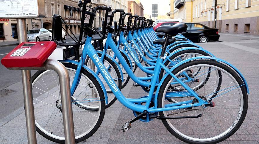 велостоянка с синими велосипедами